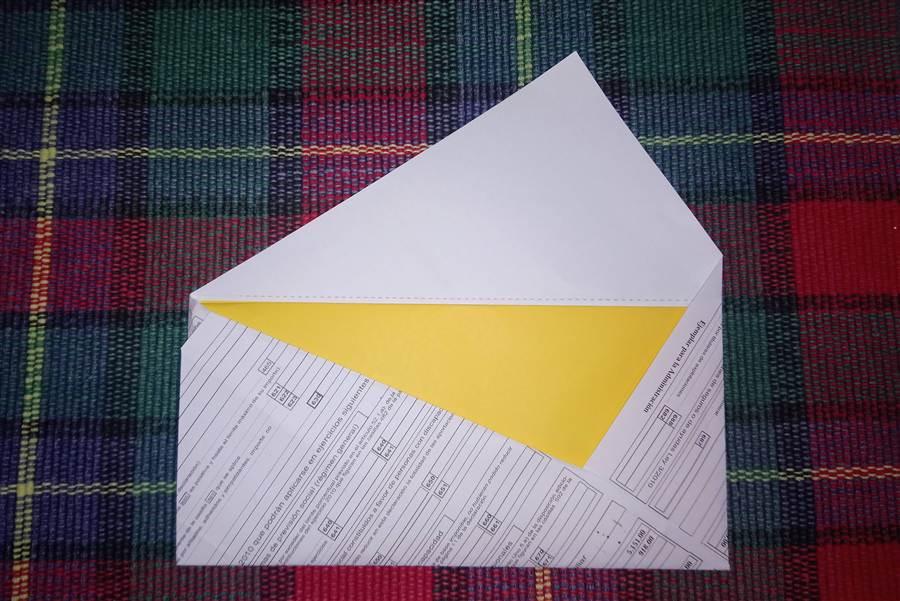 Un sobre de papiroflexia