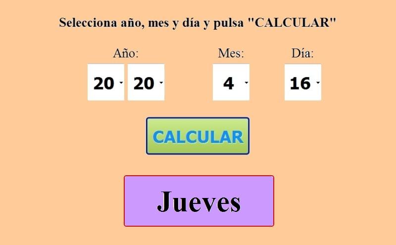 Calcular el día de la semana que corresponde a una fecha